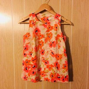 LOFT Sleeveless Floral Print Blouse Women's sz XSP